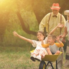 Grandma and grandpa are pushing their grandchildren in a wheelbarrow Premium Photo Grandma And Grandpa, Free Summer, Vector Photo, King George, Wheelbarrow, Grandchildren, Free Photos, Marie, Photo Editing