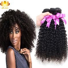 7A Malaysian Virgin Hair with Closure 3 Bundles Kinky Curly Virgin Hair with Lace Closure 100% Human Hair Extension with Closure