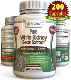 Pure White Kidney Bean Extract 1800mg, 200 Capsules, More potent than 500mg, 1000mg or 1500mg, Powder or Liquid $19.97   POWERFUL NATURAL CARB BLOCKER - Pure White Kidney Bean (Phaseolus Vulgaris) extract has been proven to Block Carbohydrates, and Intercept Starches, to prevent them from being broken down, and from turning into fat and sugar. So this is the perfect product to use for low carb diets, or when trying to manage your weight, without eating less.    STIMULANT FREE WEIGHT LOSS…