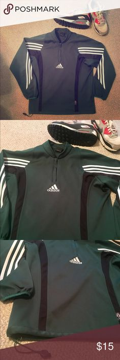 Adidas Pullover!! This is in used but good condition. No holes, rips or stains. Partial zipper. Drawstring at the bottom. Adidas Tops
