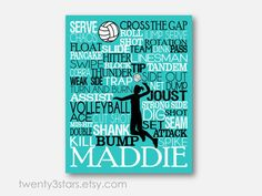 Volleyball Typography Art Print, Perfect for Girl's Room Art, You Choose the Colors, Makes a Great Gift for any Volleyball Player on Etsy, $10.00