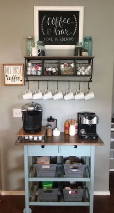 Home Coffee Bar Furniture . Home Coffee Bar Furniture . 48 Stunning Diy Coffee Bar Ideas for Your Home Interior Wine And Coffee Bar, Coffee Bars In Kitchen, Coffee Bar Home, Home Coffee Stations, Coffee Bar Ideas, Kitchen Bars, Diy Coffe Bar, Office Coffee Station, Coffee Station Kitchen