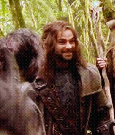Kili laughing. Aww! :3 I like to think that Fili is probably making him laugh...or maybe Mr. Boggins is having trouble mounting his pony again. :)