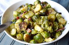 Roasted Parmesan Brussels Sprouts with bacon
