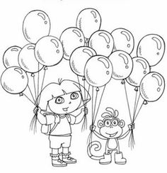 Dora Coloring Pages | Cake Ideas | Pinterest | Free printable