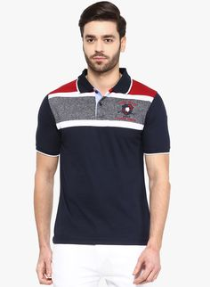 7fdc12dbf Buy Cobb Navy Blue Solid Polo T-Shirt for Men Online India, Best Prices