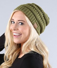 This Olive Ribbed-Knit Beanie is perfect! #zulilyfinds