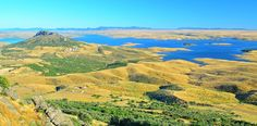Colors of Extemadura - Spain - Panoramic view of La Serena reservoir from the Castle of Puebla de Alcocer, located in Badajoz, Extremadura - Spain.