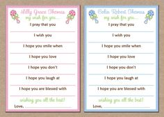 12 Baby Wish Prayer Cards for Shower
