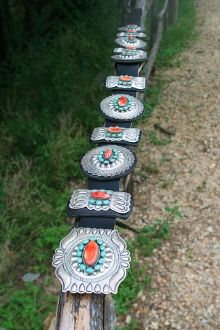 Gunslinger Spiny Oyster and Turquoise Stamped Silver Concho Belt Turquoise  Purse 090c85fc51f