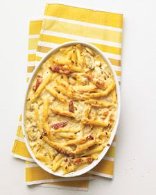 Baked Penne with Chicken and Sun-Dried Tomatoes - Martha Stewart Recipes. I'd swap out the sun dried tomatoes w/artichoke hearts (personal preference) Freezer Cooking, Freezer Meals, Cooking Recipes, Cooking Tips, Freezer Recipes, Chicken Freezer, Freezer Dinner, Quick Recipes, Pasta Recipes That Freeze Well