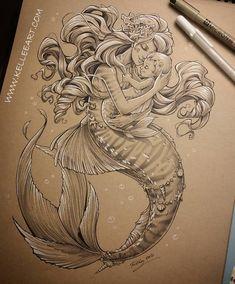 Mother and Baby mermaid, Kellee Riley on ArtStation at https://www.artstation.com/artwork/wq4yg