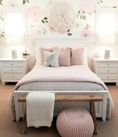 Teen Girl Bedrooms, 1 lovely yet dreamy bedroom design, reference 1883549008 Cute Bedroom Ideas, Cute Room Decor, Girl Bedroom Designs, Room Ideas Bedroom, Home Bedroom, Bedroom Decor, Teen Bedroom, Girls Bedroom Light, Wallpaper For Girls Bedroom