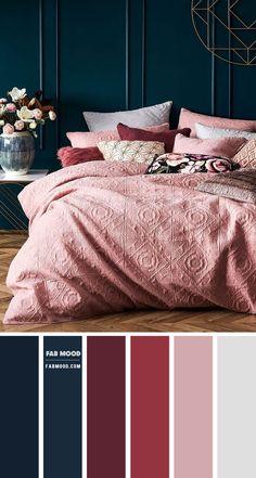 Maroon Bedroom, Mauve Bedroom, Blue And Pink Bedroom, Navy Blue Bedrooms, Bedroom Red, Home Bedroom, Mauve Walls, Bedroom Colour Palette, Bedroom Wall Colors