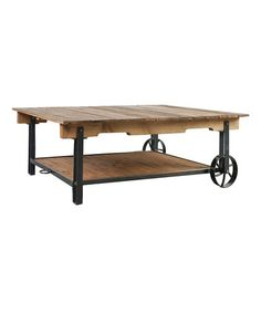 HIP! Wooden Cart Coffee Table Reminiscent of a carpenter's shop table, this piece's rustic design elevates your décor with antiqued refinement. waco texas hgtv designer design staging fixer upper retro vintage new HURRY THESE WILL SELL OUT FAST ONLY A FEW LEFT    55'' W x 18.5'' H x 36'' D Wood / metal Assembly required Imported