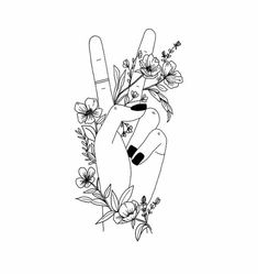 illustrations, hand and flowers, line art, floral, botanical. Tattoo Drawings, Body Art Tattoos, Art Drawings, Outline Drawings, Fantasy Kunst, Art Inspo, Line Art, Art Sketches, Tatting