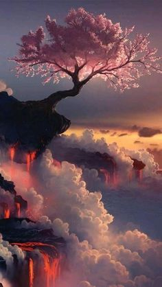 Un Árbol de Cerezos en el Monte Fuji (Japón)