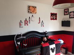 Ej S Mickey Mouse Suite Nursery Wooden Letters Canvas Photo Mobile Crib Bedding
