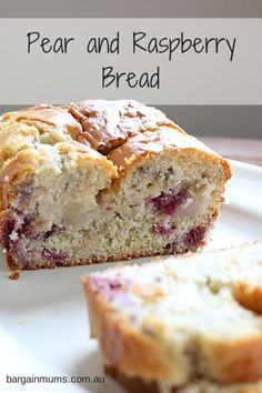 This Pear and Raspberry Bread is perfect for those times you feel like cake, but really don't want anything too sweet. Raspberry Bread, Raspberry Recipes, Pear Recipes, Sweet Recipes, Baking Recipes, Cake Recipes, Pear Dessert Recipes, Jelly Recipes, Breakfast Recipes