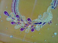 Blouse work Aari Embroidery, Hand Work Embroidery, Creative Embroidery, Machine Embroidery Designs, Embroidery Blouses, Blouse Back Neck Designs, Saree Blouse Designs, Blouse Patterns, Mirror Work Blouse