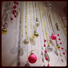 Hanging Jingle Bells for 2015 New Years Wall Decoration - Wall Decor, Gold Ribbon, Silver Ribbon Holiday Store, Holiday Parties, Xmas Party, Red Christmas, Christmas Time, Christmas Decorations, Christmas Ornaments, Holiday Decor, Christmas Crafts