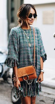 Loves this fringe and boucle dress perfectly played down with a tan cross body bag, messy bun and aviators