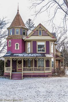 Magnificent purple Victorian home.