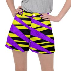 Abstract triangles, three color dotted pattern, purple, yellow, black in saturated colors Ripstop Shorts Purple Yellow, Yellow Black, Saturated Color, Triangles, Creative Design, Dots, Abstract, Colors, Womens Fashion