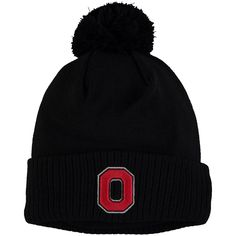 the best attitude ced9d 6d59d Men s Black Ohio State Buckeyes Home Script Cuffed Knit Hat with Pom