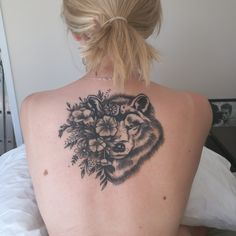 Wolf Flower Tattoo done by Lucy Hart @ Lucy's Tattoo Studio Wolverton