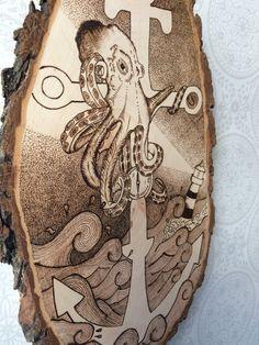 Wood burned octopus art. TimberleePyrography