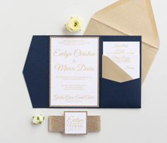 Navy and gold Wedding Invitations with glitter Navy blue   Etsy