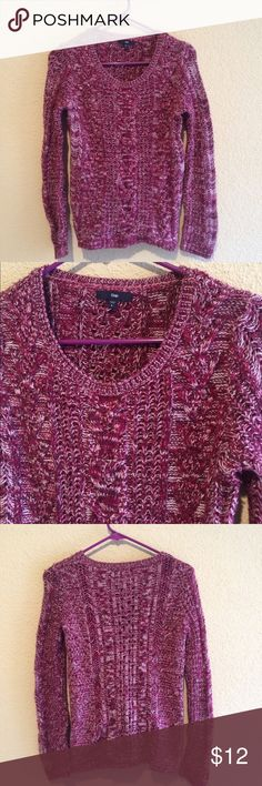 GAP Purple Knit Pullover Description: Thick pullover knit sweater featuring a purple and white blend of colors. Size: Small Brand: Gap Condition: No flaws GAP Sweaters Crew & Scoop Necks