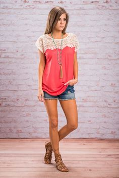 Darling Dreams Top, Coral - The Mint Julep Boutique