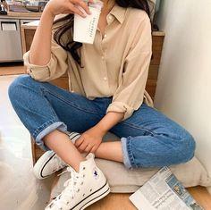 Source by mariehonsa outfits Korean Fashion collection fashionable heart image Korean mariehonsa Outfits Source Korean Girl Fashion, Korean Fashion Trends, Korean Street Fashion, Korean Fashion Casual, Urban Outfits, Mode Outfits, Girl Outfits, Fashion Outfits, Fashion Belts