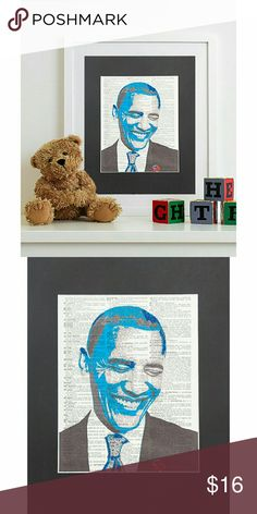 Barack Obama Vintage Dictionary Page 11x14 Wall Decor Vintage Dictionary Page Print, Barack Obama Portrait Digital Manipulation with Sparks of Glitter. Brain Damage Art Other