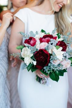 Burgundy Peonies, blush roses, berries and spray roses for our special bride by CreationsbyDebbie.net