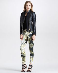 Cavalli Motorcycle Jacket Love thins  Wanted it Got it Motorcycle+Jacket+&+Printed+Skinny+Jeans+by+Just+Cavalli+at+Neiman+Marcus.