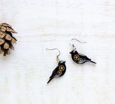 Black bird earring, bird earring, little bird, animal earrings, watch parts jewelry, black and gold