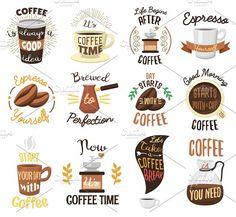 Vintage coffee shop labels by RocketArt on @creativemarket