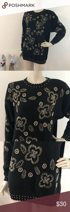 """Vintage 90s Black & Gold Beaded oversized Sweater Christine Gerard Excellent condition  55% ramie, 45% cotton Size M  Shoulders 23"""" Sleeves 20.5"""" Bust 42"""" Waist 40"""" Length 27"""" Vintage Sweaters Crew & Scoop Necks"""