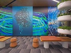Color, natural elements & light filled spaces define Canon's Sydney office.