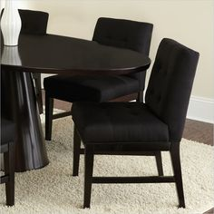 steve silver company maurice parsons upholstered poly cotton fabric dining chair in black mu540s - Fabric Dining Chairs