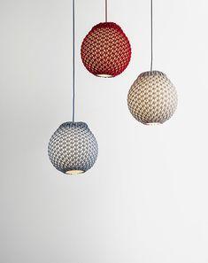 knitted modern lighting , padent light , light balls , contemporary design , handmade lighting
