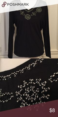 Long-Sleeve Top Pretty cording/sequin trim. 100 percent cotton. Perfect condition. Westbound Tops Tees - Long Sleeve