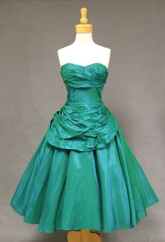 Fred Perlberg Draped Green Taffeta 1950's Cocktail Dress VINTAGEOUS VINTAGE CLOTHING