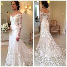 Lace Wedding Dress V-Neck Long Sleeve Button Sweep Train Applique Wedding Gown