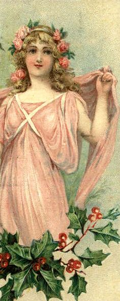 Pink Victorian Lady - Christmas holly