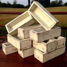 Hochzeit-Herzstück - 10er - Planter Box - notleidende Holzkiste - Dekor-Set