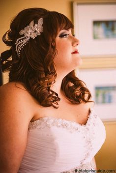 plus size bride hair and makeup. loved my hair piece!